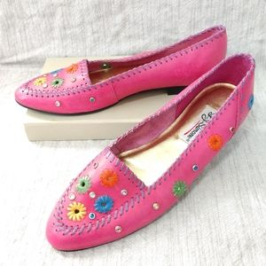 Vintage Pink Leather Loafers Jewels Flowers 90's